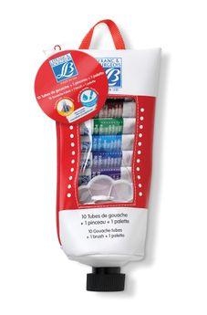Trousse 10 tubes de gouache avec 1 pinceau et 1 palette