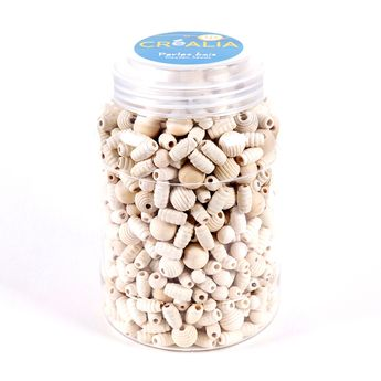 Baril de perles en bois aux couleurs natruelles - Créalia