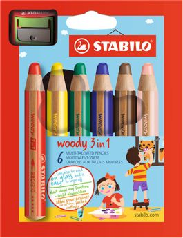 Crayon  woody 3 in 1 avec taille crayon pochette 6 pièces