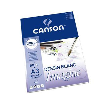 Bloc de 50 Feuilles Imagine Canson A3 200gr - Blanc