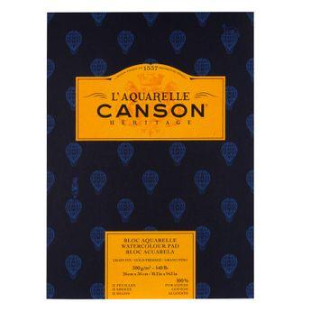Bloc 12 feuilles Canson Heritage grain fin 300g - 26x36cm - Collées 1 côté.