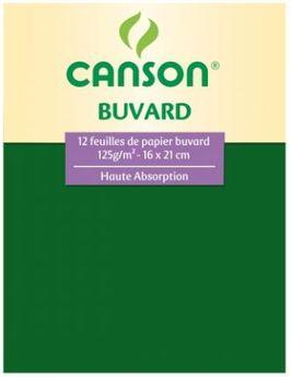 Pochette de 12 feuilles Canson - papier buvard - 16x21 cm