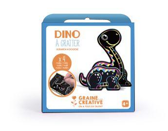 Boite 4 cartes à gratter 3D assorties design dinosaure